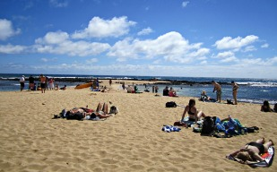 Poipu Beach. Nice, but crowded.